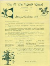 Image of Top O' the World Resort newsletters - Top O' the World Resort (Lake George, N.Y.)