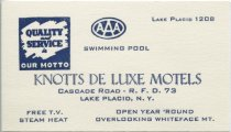 Image of [Knotts Deluxe Motels business card] - Knotts Deluxe Motels (Lake Placid, N.Y.)