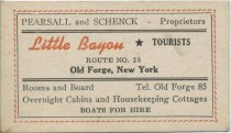 Image of [Little Bayou Tourists business cards] - Little Bayou Tourists (Old Forge, N.Y.)