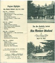 Image of You are Cordially Invited to join in a New Members Weekend at Lake Placid Club in the Adirondacks, July 4-8, 1963 -