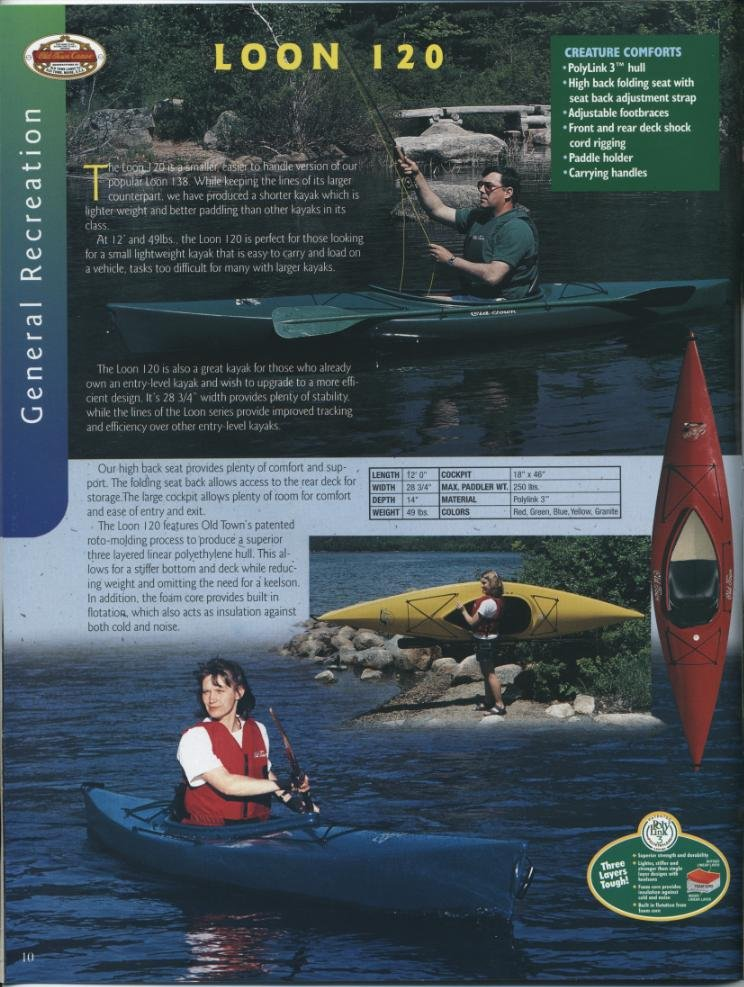 Old Town : Canoes, Kayaks & Accessories : 1999 Catalog - Old