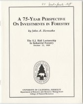 Image of A 75-Year Perspective on Investments in Forestry / by John A. Zivnuska - Zivnuska, John A. (John Arthur), 1916-