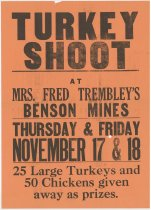 Image of Turkey Shoot at Mrs. Fred Trembley's Benson Mines, Thursday & Friday, November 17 & 18 -