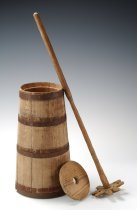 Image of butter churn, lid & dasher
