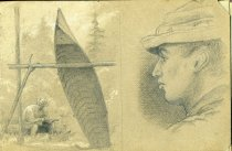 Image of [Untitled: Man and guideboat] - Drawing