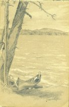 Image of [Untitled: Lake Scene with Boat] - Drawing