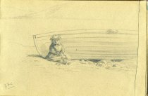 Image of [Untitled: Girl and Boat] - Drawing