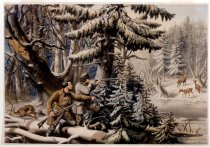 Image of American Winter Sports. Deer Shooting 'On the Shattagee' - Print