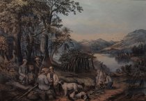 Image of Hunting Fishing And Forest Scenes. Shantying On the Lake Shore. - Print
