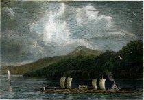 Image of Timber Raft On Lake Champlain. - Print
