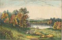 Image of Autumn in the Adirondacks. Lake Harrison. - Print