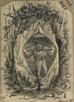 Image of Hauling Canoe Through Wilderness - Drawing