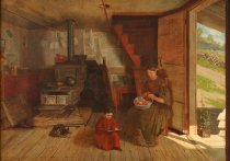 Image of Interior of an Adirondack Shanty - Painting