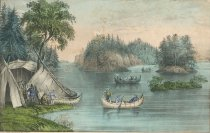 Image of View On the St. Lawrence. Indian Encampment. - Print