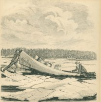 Image of Oven Lake.  Accident To the Second Boat--the Guides Baggage And Instruments in Danger. - Print