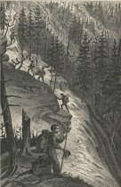 Image of Primary Triangulation. Guides and Packmen carrying Instruments and Supplies to the Summit of Lyon Mountain. - Print