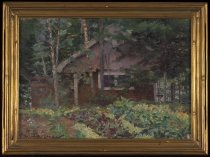 Image of Cabin At Camp - Painting