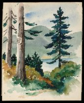 Image of [Untitled: Tree with Sign] - Painting