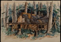 Image of Hunter's Cabin, Roaring Brook, Adirondack Mountains - Painting