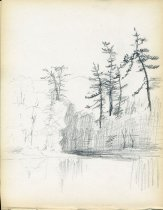 Image of [Untitled: Lake and Trees] - Drawing