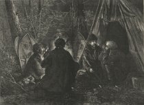 Image of New York. - Sportsmen in camp among the Adirondacks-Preparing for a Tramp over the snow-drifts. - Print