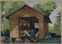 Image of Untitled: Boat House, Raquette Lake - Painting