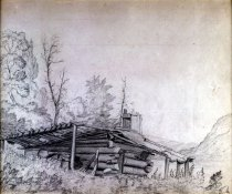 Image of Wood's Cabin On Rackett [sic] Lake - Drawing