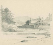 Image of Rolling Mill on the Ausable-Keeseville N.Y. - Drawing