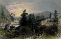 Image of Rail-Road Scene, Little Falls  (Valley of the Mohawk). - Print