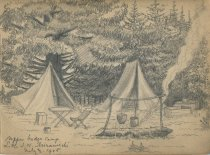 Image of Upper Bridge Camp, Little S.W. Miramichi - Drawing