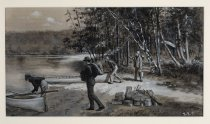 Image of Breaking Up Camp/the Racquette [sic] River At the End of Sweeny Carry - Painting