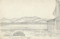 Image of Upper Saranac Lake from Our Room Door - Drawing