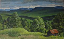 Image of Untitled: Landscape with Cabin - Painting