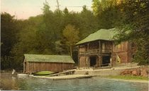 Image of Lake View Lodge, Boat House Big Moose, Adirondack Mountains, N.Y. - Postcard