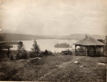 Image of [View of Blue Mountain Lake with Gazebo] - Collotype