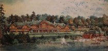 Image of Mountain Lodge, Little Moose Lake, 1914, Adirondack League Club. - Print