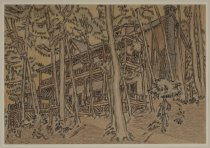 Image of Untitled:  Exterior View of Colpitts Camp - Painting