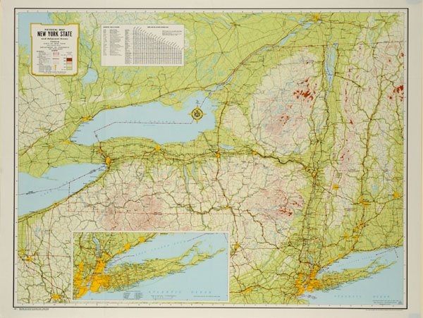 Physical map of New York State and adjacent area on