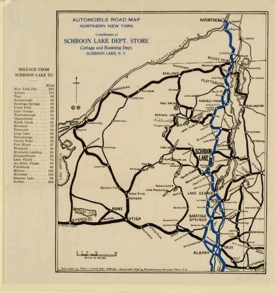 Map Of Northern New York.Automobile Road Map Of Northern New York