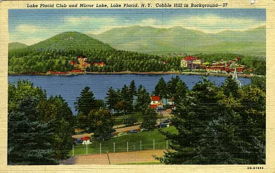 Lake Placid Club And Mirror NY Cobble Hill In Background