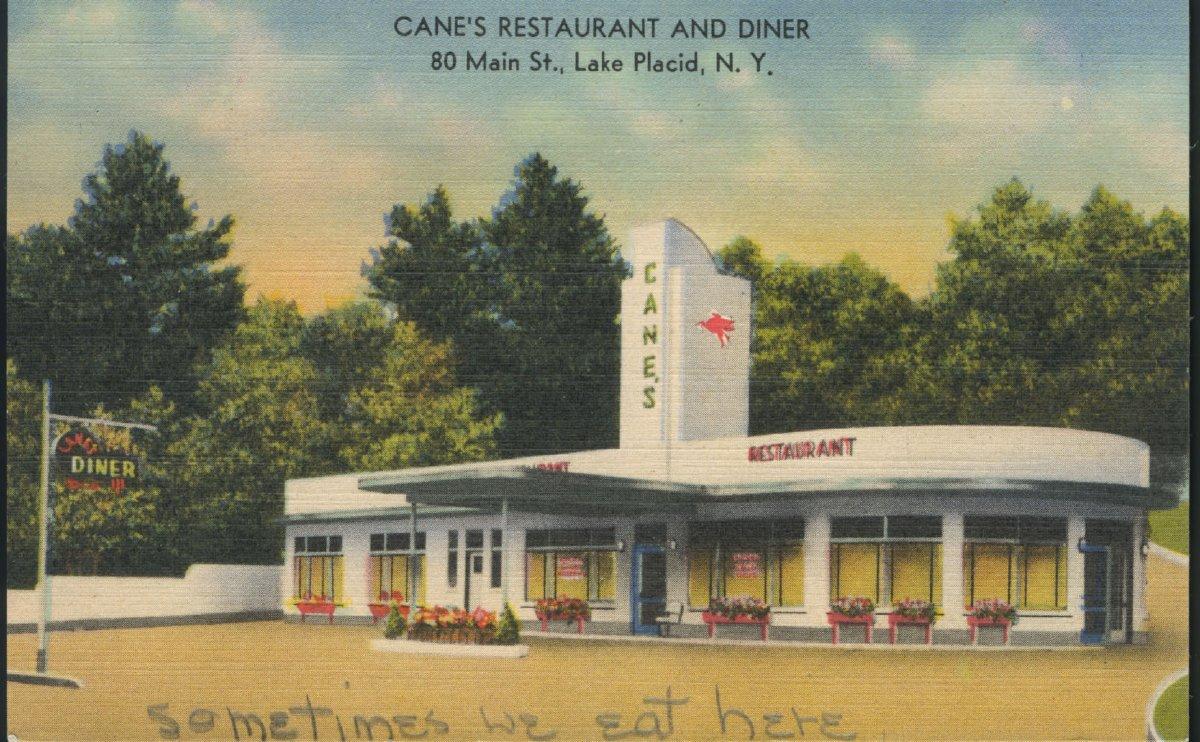 Cranes Restaurant And Diner 80 Main St Lake Placid Ny Postcard