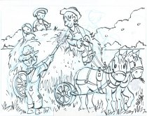 Image of Harvesting Hay - Drawing