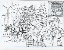 Image of Hauling Logs / Lumbjack Mittens - Drawing