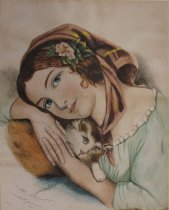 Image of [Young Girl and Kitten] - Drawing