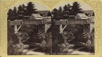 Image of 926. Bridge Across the Hudson River, Luzerne. - photo - stereo; mounted; sepia