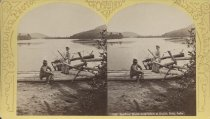 Image of 1347. Looking North from beach at Outlet, Schr. Lake. - photo - stereo; mounted; sepia