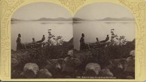 Image of 1384. Schroon Lake South from Mill Brook. - photo - stereo; mounted; sepia