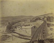 Image of [Lyon Mountain Depot from New Separator.] - Print, albumen