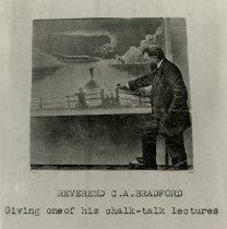 Image of Reverend C.A. Bradford; Giving one of his chalk-talk lectures - photo - copyprint