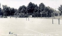 Image of Tennis and Hand Ball Courts, Moon Hill Camp, Pottersville, N.Y. 364. - Print, Real Photo Postcard